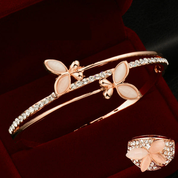 Rose Gold Butterfly Bangle + FREE Ring!