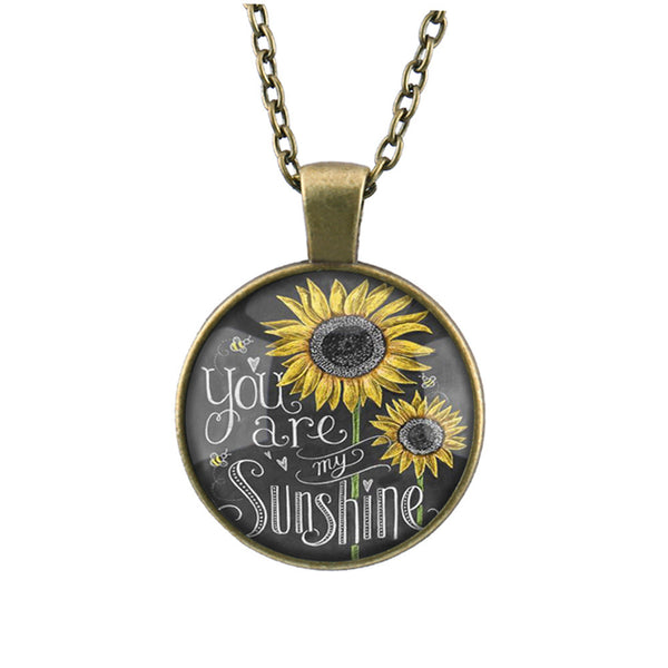 You Are My Sunshine Sunflower Pendant