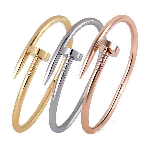 Silver Rose Gold Black Nail Bangles