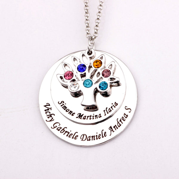 Family Tree Pendant with 7 Names and Birthstones