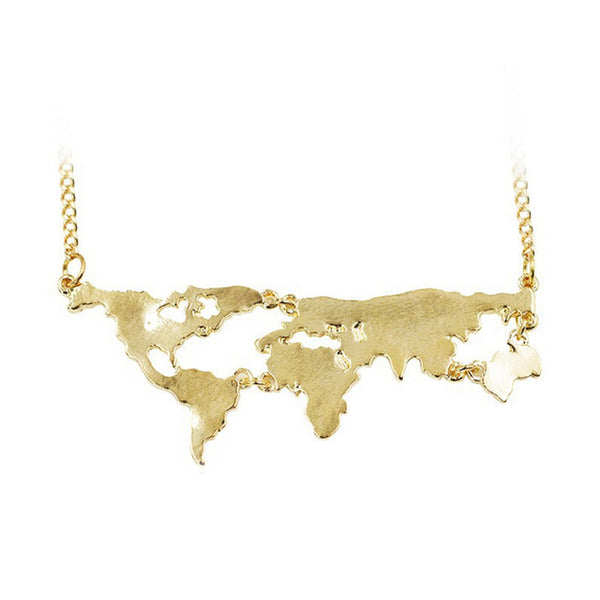 We Are One World Map Necklace