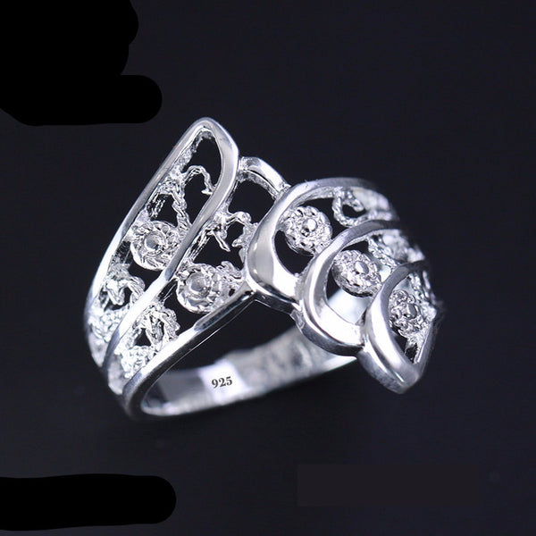 925 Silver Flower Angel Wing Ring