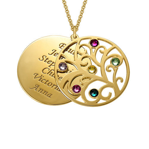 Family Tree Pendant with 6 Names and Birthstones