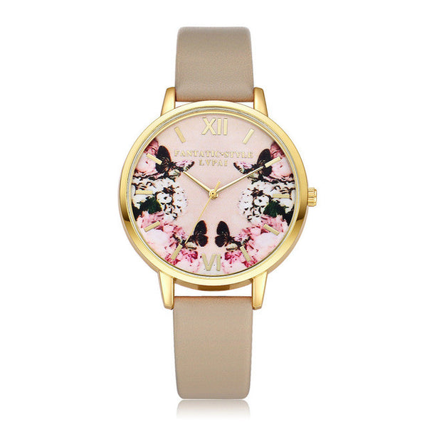 Butterfly Flower Leather Quartz Gold Watch
