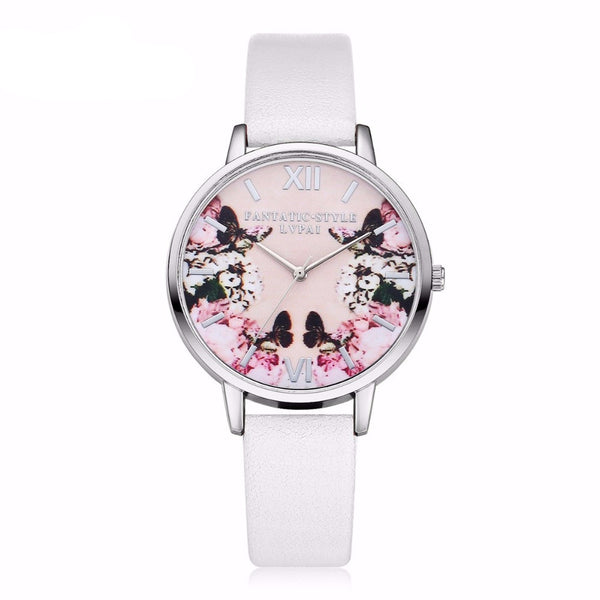 Butterfly Flower Leather Quartz Silver Watch