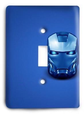 Abstract Blue Iron Man Light Switch Cover - Colorful Switches