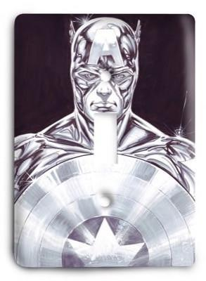 Captain America silver Light Switch Cover - Colorful Switches