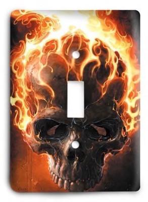 GhostRider Flaming Skull Marvel Comics Light Switch Cover - Colorful Switches