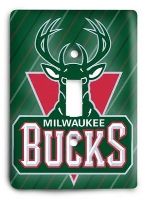 Milwaukee Bucks NBA 1v Light Switch Cover - Colorful Switches