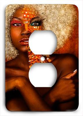 Natural Ebony | Black Art Outlet Cover - Colorful Switches