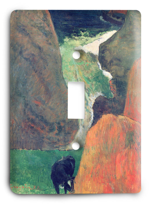 Paul Gauguin Seascape With Cow On The Edge Of A Cliff 1888 Light Switch Cover - Colorful Switches
