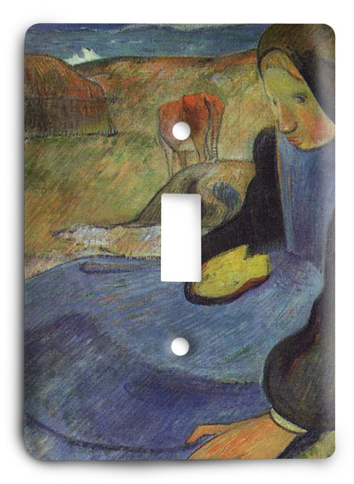 Paul Gauguin Seated Breton Girl 1889 Light Switch Cover - Colorful Switches