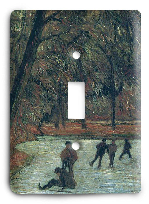 Paul Gauguin Skaters In Fredericksberg Park 1884 Light Switch Cover - Colorful Switches