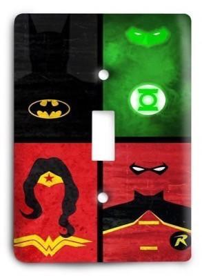 United Heroes Batman Green Lantern Wonder Woman Robin Light Switch Cover - Colorful Switches