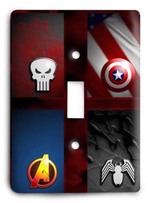 United Heroes Punisher Captain Amaerica Avengers Venom Spiderman Light Switch Cover - Colorful Switches