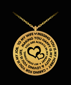 Wife Pendant Necklace - Personal Gift From Husband - Silver/Gold Laser Engraved - Cute Charm Present