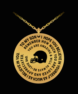 Football Necklace For Boys - Laser Engraved Pendant Charm - Dad To Son - Personalized Gift - Uncle Seal