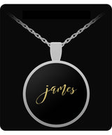 James Name Necklace - Personalized Charm Pendant -Square/Round - Gold/Silver - Lovely Present For Any Occasion - Son Gift - Uncle Seal