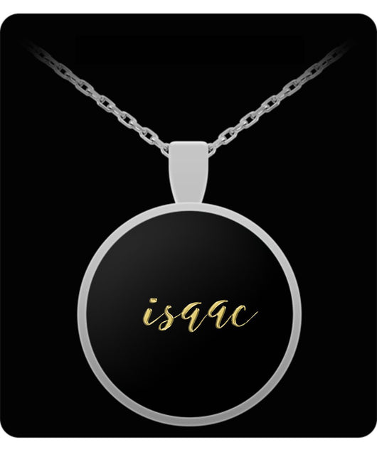 Isaac Name Necklace - Personalized Charm Pendant -Square/Round - Gold/Silver - Lovely Present For Any Occasion - Son Gift - Uncle Seal