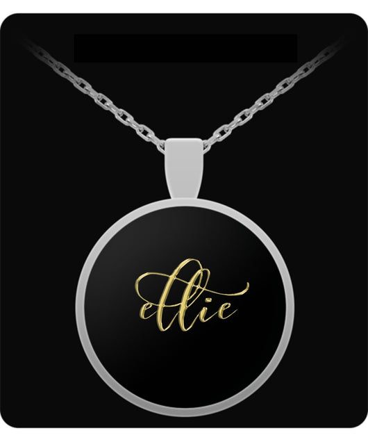 Ellie Name Necklace - Personalized Charm Pendant -Square/Round - Gold/Silver Color - Lovely Present For Any Occasion - Uncle Seal