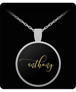 Anthony Name Necklace - Personalized Charm Pendant -Square/Round - Gold/Silver Color  - Lovely Present For Any Occasion - Son Gift - Uncle Seal
