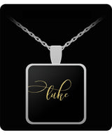 Luke Name Necklace - Personalized Charm Pendant -Square/Round - Gold/Silver - Lovely Present For Any Occasion - Son Gift - Uncle Seal