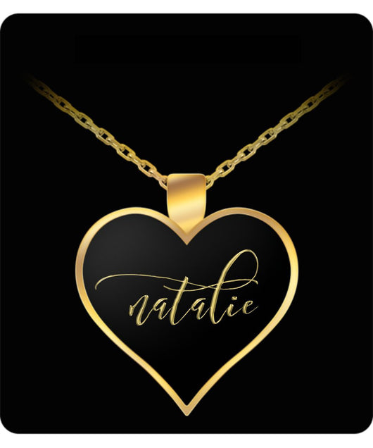 Natalie Name Necklace - Personalized Charm Heart Pendant - Gold/Silver - Lovely Present For Any Occasion - Daughter Gift - Uncle Seal