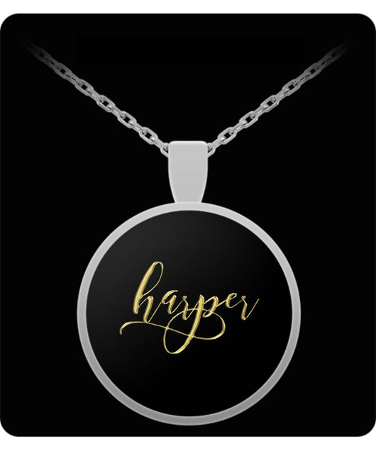 Harper Name Necklace - Personalized Charm Pendant -Square/Round - Gold/Silver - Lovely Present For Any Occasion - Son Gift - Uncle Seal