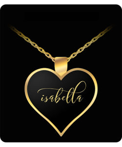 Isabella Name Necklace - Personalized Charm Heart Pendant - Gold/Silver - Lovely Present For Any Occasion - Daughter Gift - Uncle Seal