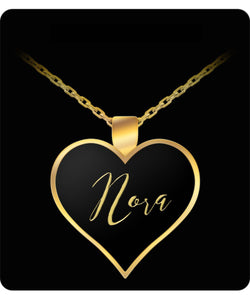 Nora Name Necklace - Personalized Charm Heart Pendant - Gold/Silver - Lovely Present For Any Occasion - Daughter Gift - Uncle Seal