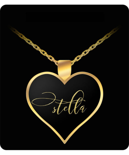 Stella Name Necklace - Personalized Charm Heart Pendant - Gold/Silver - Lovely Present For Any Occasion - Daughter Gift - Uncle Seal