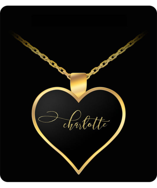 Charlotte Name Necklace - Personalized Charm Heart Pendant - Gold/Silver - Lovely Present For Any Occasion - Daughter Gift - Uncle Seal
