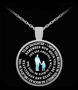 Father to Daughter Necklace - Personalized Necklace From Dad - Pendant Charm