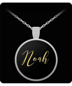 Noah Name Necklace - Personalized Charm Pendant -Square/Round - Gold/Silver - Lovely Present For Any Occasion - Son Gift - Uncle Seal