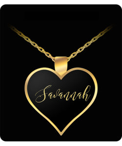 Savannah Name Necklace - Personalized Charm Heart Pendant - Gold/Silver - Lovely Present For Any Occasion - Daughter Gift - Uncle Seal