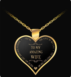 Gold Chain Necklace - To My Amazing Wife - Heart Shaped Pendant - Love Of My Life- - Uncle Seal