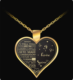 I Love My Wife Charm - Gold Necklace Heart - Gift For Her-