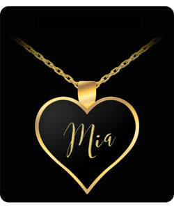 Mia Name Necklace - Personalized Charm Heart Pendant - Gold/Silver - Lovely Present For Any Occasion - Daughter Gift