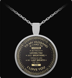 I Love My Husband - Silver Chain Necklace - For Him - Pendant-