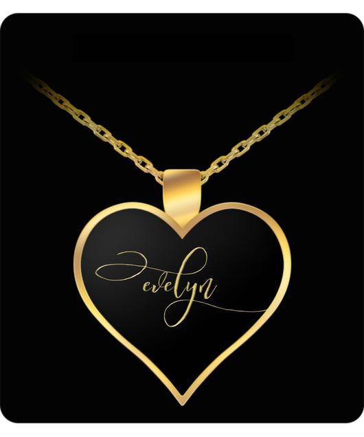 Evelyn Name Necklace - Personalized Charm Heart Pendant - Gold/Silver Color  - Lovely Present For Any Occasion - Daughter Gift - Uncle Seal