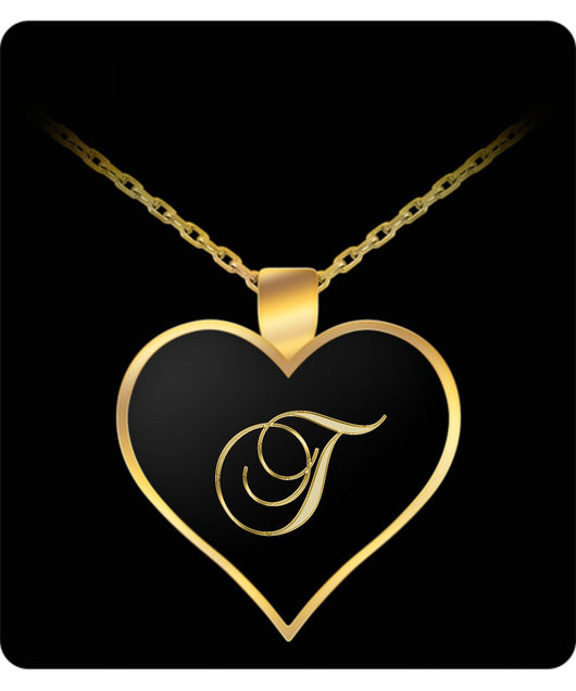 T Initial Necklace - Heart Gold Plated Chain Pendant - Name Charm - Uncle Seal