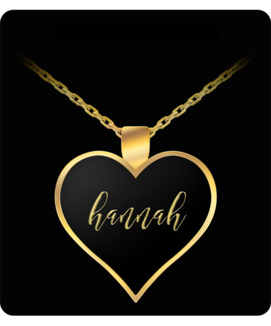Hannah Name Necklace - Personalized Charm Heart Pendant Gift - Gold/Silver Color  - Lovely Present - Uncle Seal