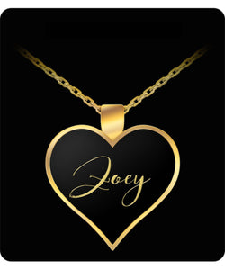 Zoey Name Necklace - Personalized Charm Heart Pendant - Gold/Silver - Lovely Present For Any Occasion - Daughter Gift