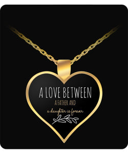 Father and Daughter - Necklace Gold Heart design- - Uncle Seal