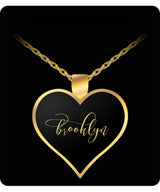 Brooklyn Name Necklace - Personalized Charm Heart Pendant - Gold/Silver Color  - Lovely Present For Any Occasion - Daughter Gift - Uncle Seal