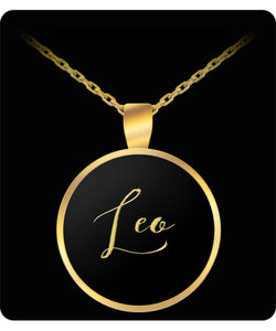 Leo Name Necklace - Personalized Charm Pendant -Square/Round - Gift - Gold/Silver - Lovely Present - Uncle Seal