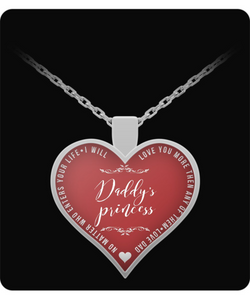 Dad Daughter Jewelry - Daddys Princess Necklace - Best Fathers Day Gifts - Heart Pendant - Uncle Seal