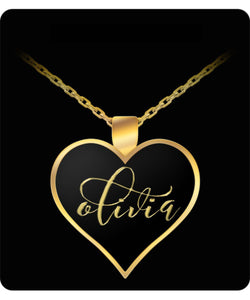 Olivia Name Necklace - Personalized Charm Heart Pendant - Gold/Silver - Lovely Present For Any Occasion - Daughter Gift - Uncle Seal