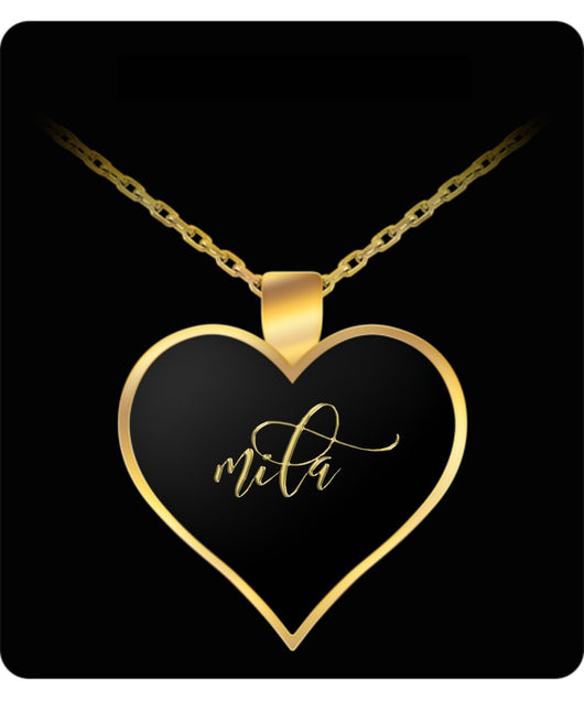 Mila Name Necklace - Personalized Charm Heart Pendant - Gold/Silver - Lovely Present For Any Occasion - Daughter Gift - Uncle Seal