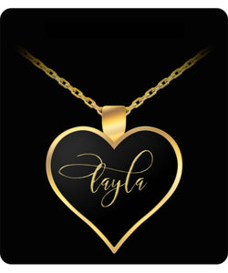 Layla Name Necklace - Personalized Charm Heart Pendant - Gold/Silver - Lovely Present For Any Occasion - Daughter Gift